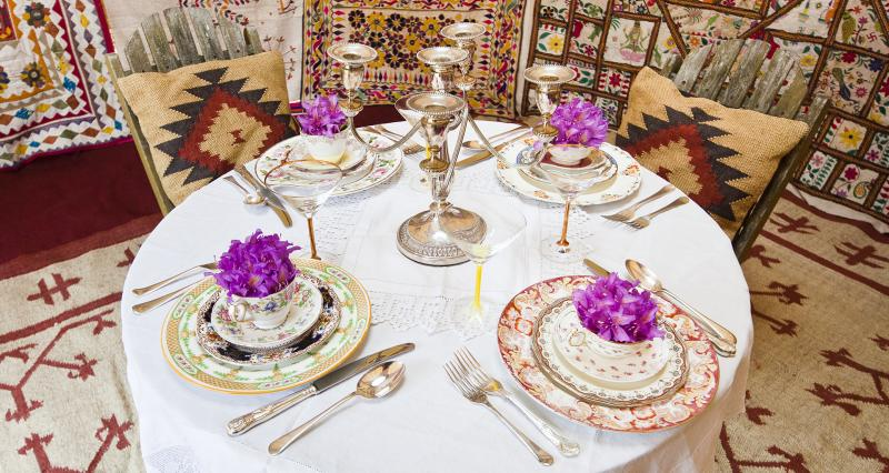 Table laid in yurt