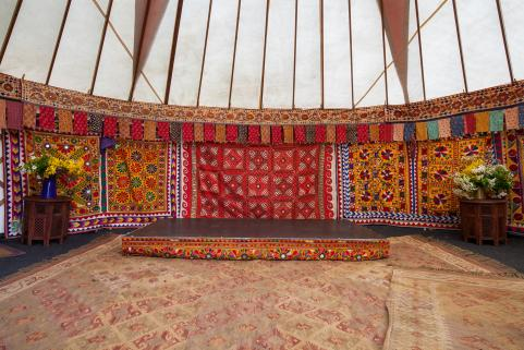 24ft yurt with stunning decor and small stage section