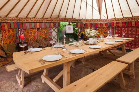 24ft yurt with a 12ft banqueting table