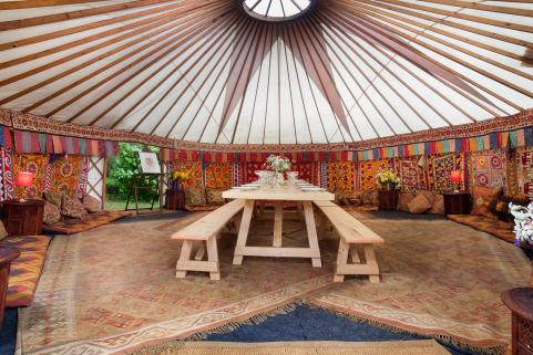 24ft yurt with sumptuous decor and 12ft banqueting table