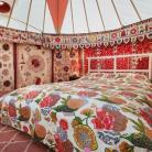 A 14ft bedroom yurt showcasing some of our stunning decorations. #textiles #yurts #glamping